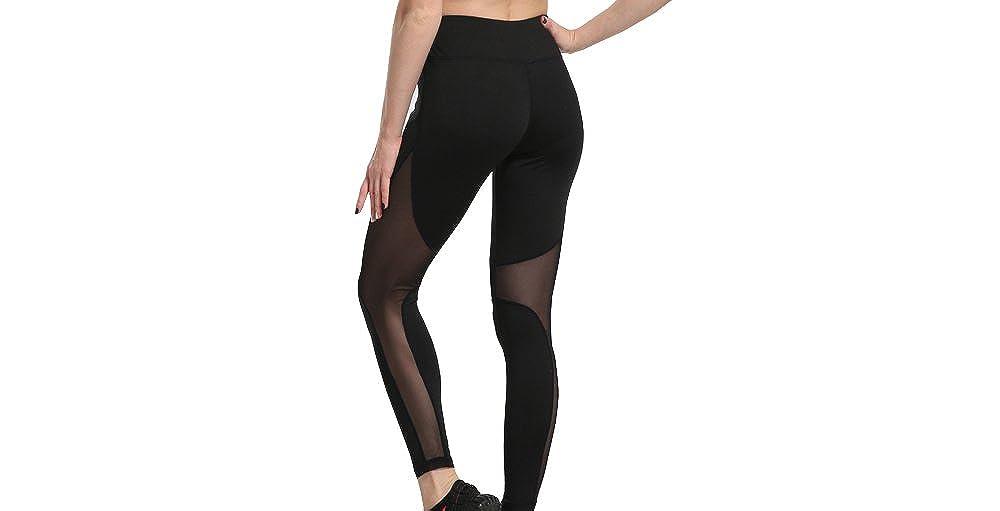 UbdehL Womens Workout High Waist Mesh Yoga Pants Fitness Hollow Out Leggings