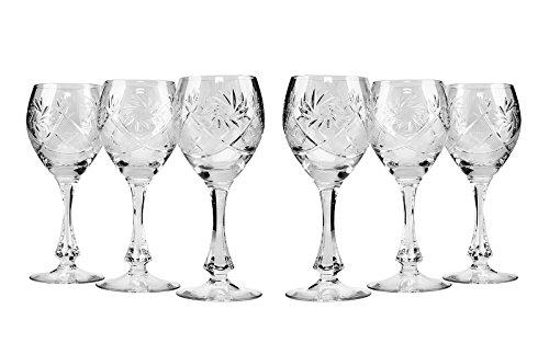 - Neman Crystal TM6874, 10 Oz Crystal Red Wine Glasses, Old-Fashioned Hand Made Glasses, Unique Vintage Stemware Set of 6