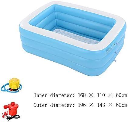 AXWT 1,96 metros de 3 plantas azul y blanco de la piscina bañera de burbujas de fondo piscina inflable plegable de hidromasaje, Pareja bañera inflable for Adultos baño en barrica piscina del