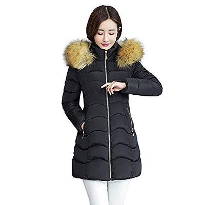 NUWFOR Women Winter Warm Coat Faux Fur Hooded Thick Warm Slim Jacket Long Overcoat White