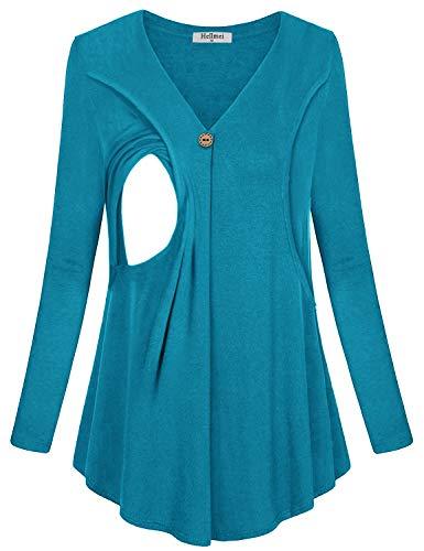 Hellmei Womens Maternity Nursing Tunic Tops, Ladies Round Neck Long Sleeve Breastfeeding Tops Women(Blue,Large)