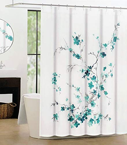 Tahari Fabric Shower Curtain Asian Floral Branches Watercolor Pattern in Shades of Blue and Gray on White - Printemps 2