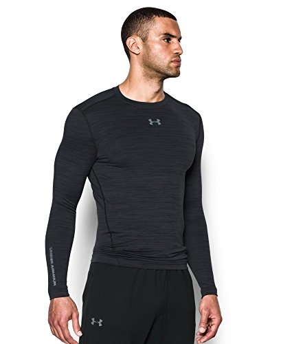 Under Armour Men's ColdGear Armour Twist Compression Crew, Black/Steel, Small by Under Armour (Image #2)