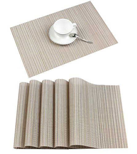 Furnily Vinyl Placemats Stain Resistant Anti-Skid Washable PVC Table Mats Woven Dining Table Mats(Beige) (Rectangle Placemat)