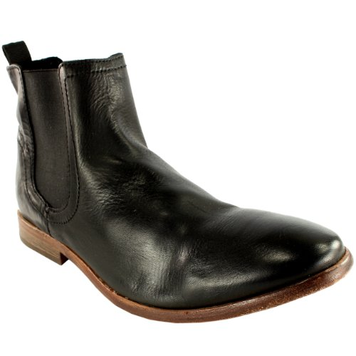 Mens H By Hudson Patterson Smart Leather Pull On Classic Chelsea Boots Black sO8iUxrBp