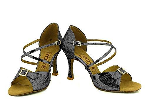 danse Chaussures Chaussures de pour YFF femmes de danse Black latine qSwEnUgT