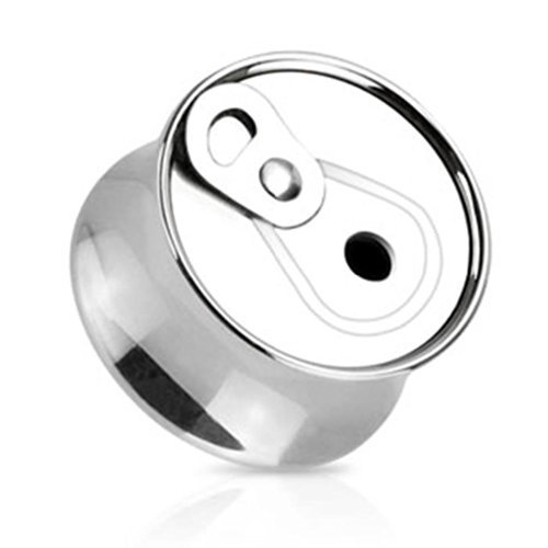 Coolbodyart Unisexe Acier inox Plug argent Bocal de limonade 14mm; Disponible dans les tailles 8mm - 16mm