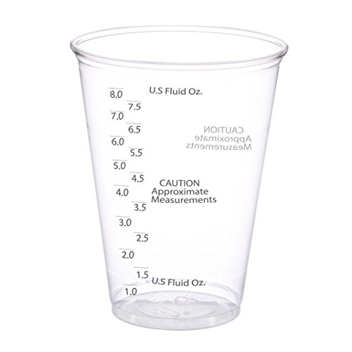 50 Pack - 10 oz. Size - Ultra Clear Plastic Mixing Measuring Cups - Best Value - Graduated Mixing - for Resin, Epoxy, Stain, Pour Art, Paint - Disposable - Measurements With Cup Plastic