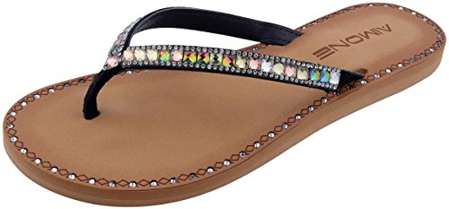 AIMONE Womens Axelle Flat Flip Flop Slippers(9 B(M) US,Multicolour) (Bling Sandals Flip Flops)