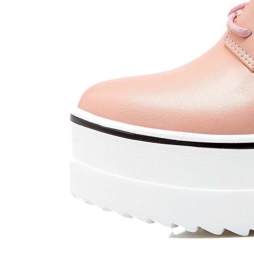 Amoonyfashion Kvinna Mjukt Material Rund Sluten Tå Höga Klackar Snörning Fast Pumpar-shoes Rosa
