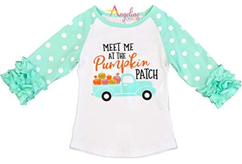 Boutique Clothing Girls Meet Me at The Pumpkin Patch Raglan T-Shirt 5/XL
