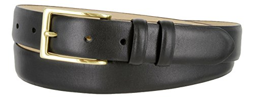 Adam Gold Men's Genuine Italian Calfskin Leather Dress Belt (36, Smooth Black) (Buckle Black Calfskin Belt)