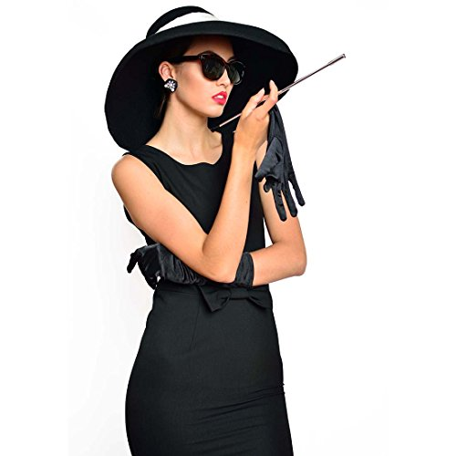 Utopiat Premium Audrey Hepburn Set, Dress, Hat, Scarf, Gloves, Earrings and Accessories (M) by Utopiat