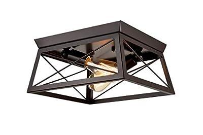 DANXU Lighting Industrial Flush Mount Ceiling Light Fixture Oil Rubbed Bronze Two Lights ...