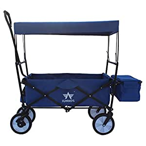 Sports God Folding Wagon Collapsible Utility Graden Cart with Removable Canopy + Storage Basket + FREE Cooler (Blue)
