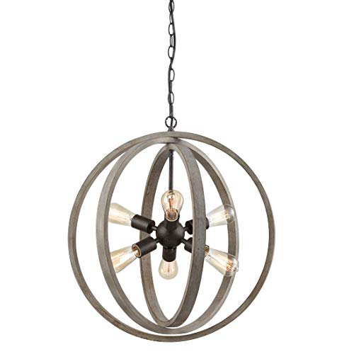 AXILAND Wood Chandelier Farmhouse Chandeliers for Dining Rooms 6 Lights