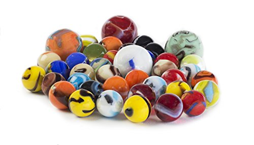 Glass Marbles Bulk, Set of 40, (36 Players and 4 Shooters) Assorted Colors, with Game Marbles Rules. (Game Marble Kids)
