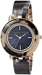 Anne Klein Women's AK/1972RGNV Glitter Accented Rose Gold-Tone and Navy Blue Tortoise Resin Bangle Watch