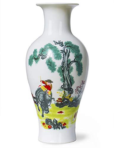 Famille Rose Porcelain Vase - Dahlia Chinese Famille Rose Porcelain Farm Boy Riding Bull Flower Vase, 15 Inches, Fish Tail Vase