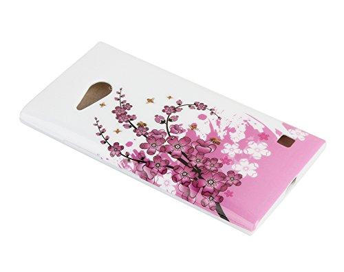 Funda Carcasa Gel para Lumia 735 / 730, 11:11 Accessories [Anti-Choques] Fina Silicona TPU de Alta Resistencia y Flexibilidad Protección Protectora Cubierta para Nokia Lumia 735 / 730 - Diseño Motivo  Rosa Flores