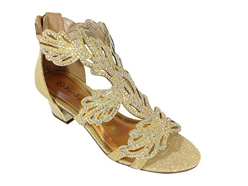 Heel Gladiator Sandals (Lime03 Womens Open Toe Mid Heel Wedding Rhinestone Gladiator Sandal Wedge Shoes (8.5, Golden))