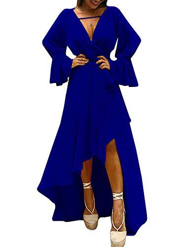 Chellysun Femmes Manches Longues Robe Dos Nu Profond Col V Robe De Soirée Fendue Asymétrique Avec Ceinture Bleue