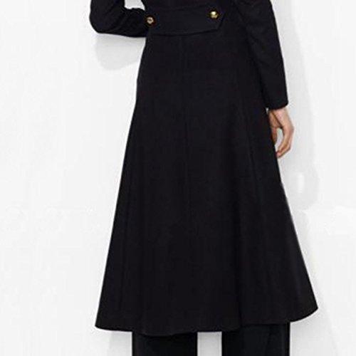 Blazer A Moda Lungo Donne Elegante Cappotto Lunghe Invernale Maniche E Autunnale Wanyang Nero t4w61qgvgx