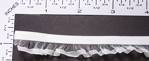 (Elastic Ribbon - Off White Velvet Stretch Trim with Decorative Sheer Edging. 2 yrd)