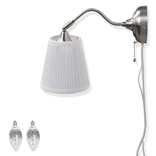 Contemporary Wall Lamp Sconce with Free Bulbs (Chrome / White) (Contemporary Lamp Wall)