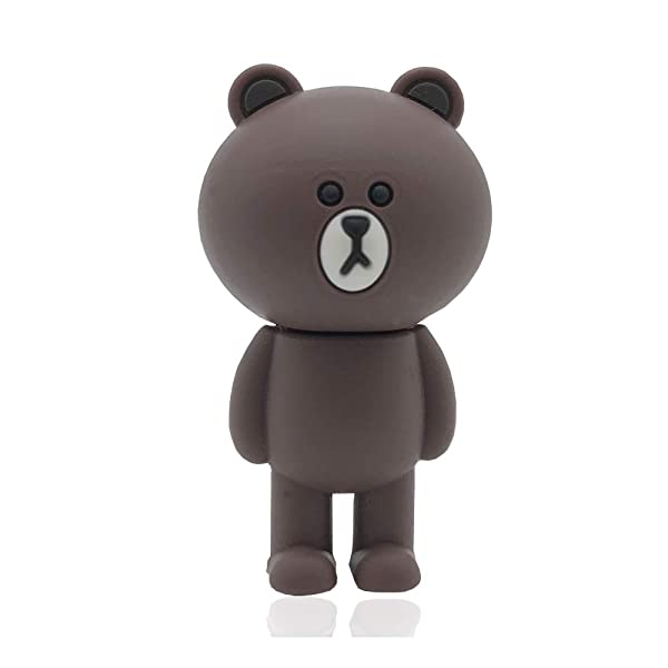 Novelty Standing Brown Bear Shape Design 32GB USB 2.0 Flash Drive Cute Memory Stick Stitch Thumb Drive Data Storage Pendrive Cartoon Jump Drive Gift (Color: Brown bear-32GB)