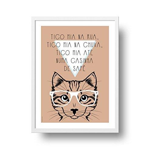 Poster Gato - Tico Mia - Moldura Branca - 25x35 cm