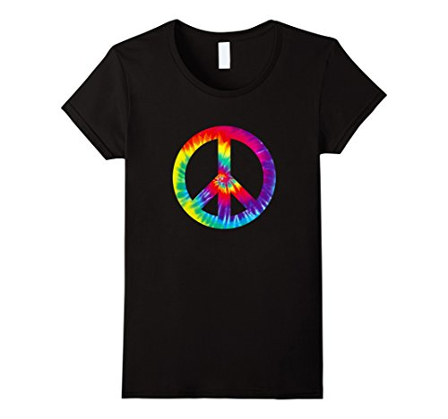 1970's Womens Hippie Shirt (Womens Peace Sign 60s 70s T Shirt Tie Dye Hippie Costume XL Black)