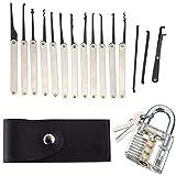 Lock Picking Kit with Practice Lock - Stainless Steel Multitool Practice Tool Lock Set with Padlock 15pcs