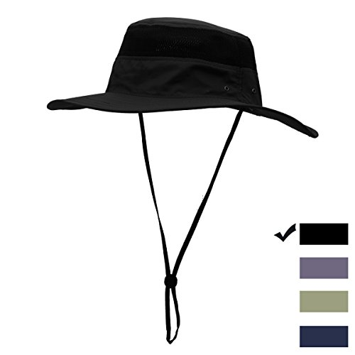 34c5fe589eac4 Summer Sun Hat Wide Brim Boonie Hats UV Protection Mesh Bucket Adjustable  Safari Cap for Men