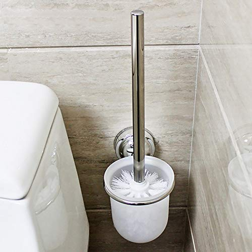 Black Brush Toilet - Toilet Brush With Holder Wall Mounted Chrome Frosted Glass Cleaning Kit Screws Bathroom - Cleaning Elderly Tools Bathroom Handicapped Organizer Brush Holder