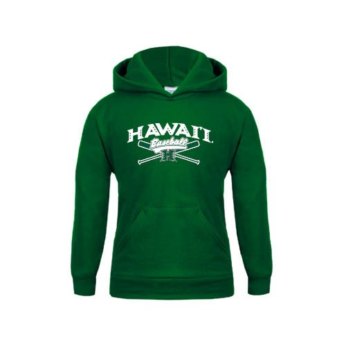 Hawaii Youth Dark Green Fleece Hoodie Baseball Crossed Bats