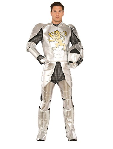 Pizzaz! Men's Knight's Tale Deluxe Costume, Silver/Gold, XXL