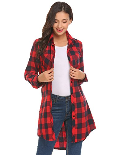 HOTOUCH Women Casual Irregular Hem Turn Down Collar Check Shirt Long with Belt, Red Navy Blue, Small