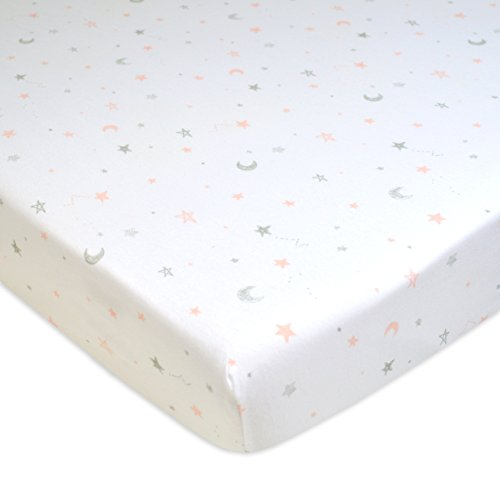 American Baby Company Printed 100% Cotton Jersey Knit Fitted Portable/Mini-Crib Sheet, Pink Stars and Moons ()