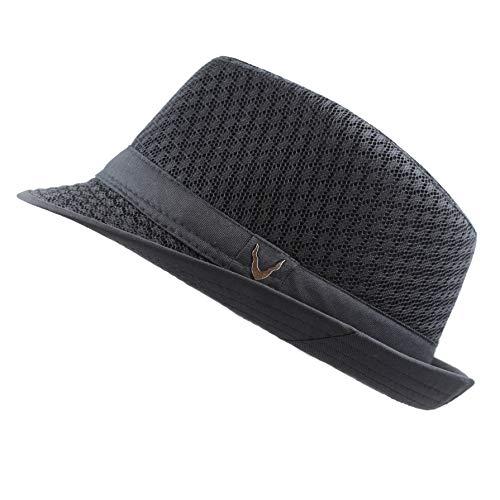 THE HAT DEPOT 200G1015 Classic Cool Soft Mesh Fedora hat (S/M, Black) -