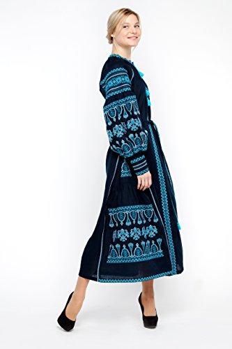 Bestickt Boho langes Kleid dunkelblau Frauen. Wyschywanka ukrainischen Vita Kin Stil SBxoKcdJ