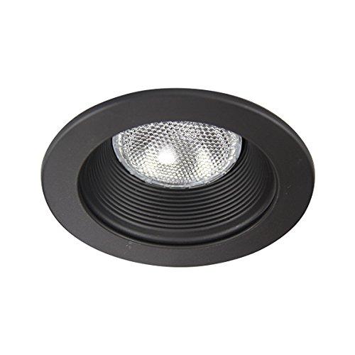 Eco Lighting NY HV4001BK/BK 4-Inch Line Voltage Trim Recessed Light fit Halo/Juno , Step Baffle, Baffle: Black, Ring: (Line Voltage Adjustable Baffle)