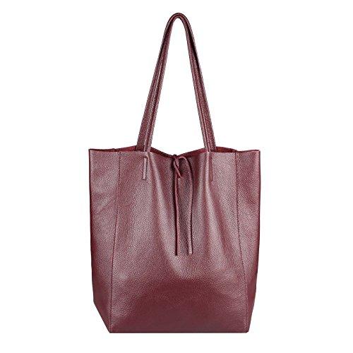 Obc Made In Italy Sac à main pour femme en cuir véritable avec des poignées d'épaule en cuir véritable effet tressé - Bronze métallisé, bordure 36x40x12 cm (Bxhxt)