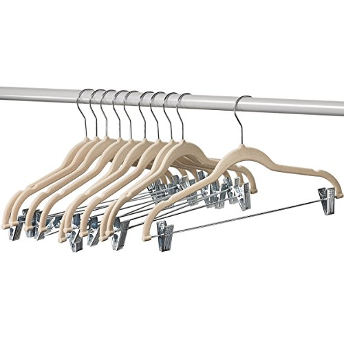 (Home-it 10 Pack Clothes Hangers with clips -  IVORY Velvet Hangers for skirt hangers - Clothes Hanger - pants hangers - Ultra Thin No Slip)