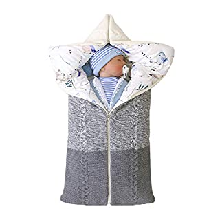 R-ejet Newborn Baby Swaddle Blanket Knit Receiving Blankets Stroller Wrap for Baby (Grey)