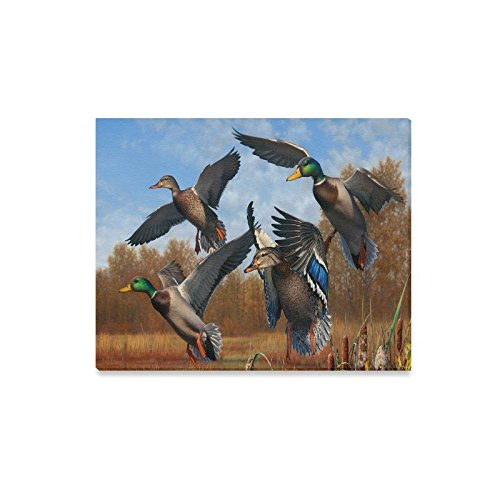 Canvas Print Romatic Valentine's Day Novelty Gifts Presents Cute Mallard Duck Pattern Modern Wall Art for Home Room Office Decoration (20x16 inch) ()