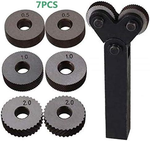 NO LOGO Rändelwerkzeug Set Rad Linear Pitch Knurl Set Stahl Drehmaschine Schneidrad Rändelwerkzeug Set Dual-Rad-Tool Kit 7tlg 0.5mm 1mm 2mm Heben
