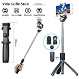 Vida Tripod Selfie Stick with Wireless Bluetooth Remote for iPhone X/iPhone XS/iPhone XSMax/ iPhone XR/iPhone 8/8 Plus/iPhone 7/iPhone 7 Plus/ Samsung Galaxy S9/S9 Plus/Note 8/S8 plus (Android/ iOS) (Black)