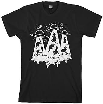 Threadrock Men's Dinosaur Alien Abduction T-Shirt S Black