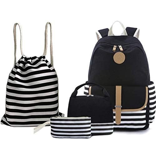 BAGTOP School Backpack Set - Canvas Teen Girls Bookbags 15